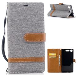 Jeans Cowboy Denim Leather Wallet Case for Sony Xperia XZ1 - Gray