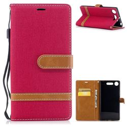 Jeans Cowboy Denim Leather Wallet Case for Sony Xperia XZ1 - Red