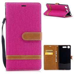 Jeans Cowboy Denim Leather Wallet Case for Sony Xperia XZ1 - Rose