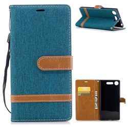Jeans Cowboy Denim Leather Wallet Case for Sony Xperia XZ1 - Green