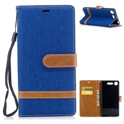 Jeans Cowboy Denim Leather Wallet Case for Sony Xperia XZ1 - Sapphire
