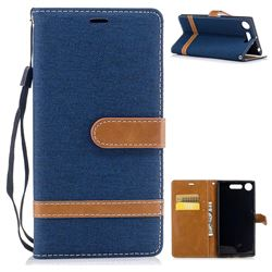 Jeans Cowboy Denim Leather Wallet Case for Sony Xperia XZ1 - Dark Blue
