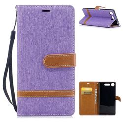 Jeans Cowboy Denim Leather Wallet Case for Sony Xperia XZ1 - Purple