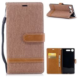 Jeans Cowboy Denim Leather Wallet Case for Sony Xperia XZ1 - Brown