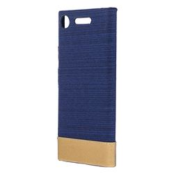 Canvas Cloth Coated Plastic Back Cover for Sony Xperia XZ1 - Dark Blue