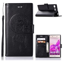 Intricate Embossing Owl Campanula Leather Wallet Case for Sony Xperia XZ1 - Black