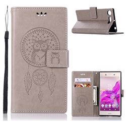 Intricate Embossing Owl Campanula Leather Wallet Case for Sony Xperia XZ1 - Grey