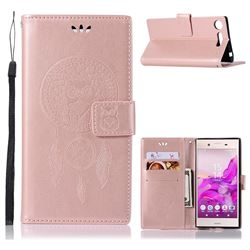 Intricate Embossing Owl Campanula Leather Wallet Case for Sony Xperia XZ1 - Rose Gold
