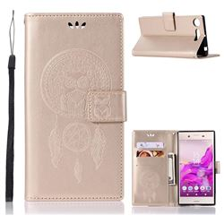 Intricate Embossing Owl Campanula Leather Wallet Case for Sony Xperia XZ1 - Champagne