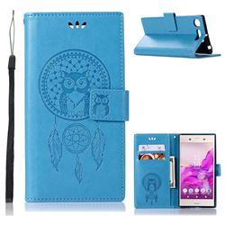 Intricate Embossing Owl Campanula Leather Wallet Case for Sony Xperia XZ1 - Blue