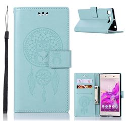 Intricate Embossing Owl Campanula Leather Wallet Case for Sony Xperia XZ1 - Green
