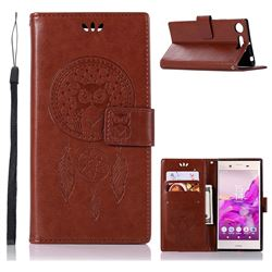 Intricate Embossing Owl Campanula Leather Wallet Case for Sony Xperia XZ1 - Brown