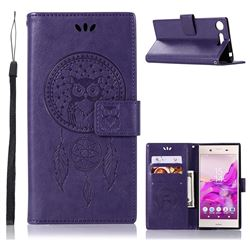 Intricate Embossing Owl Campanula Leather Wallet Case for Sony Xperia XZ1 - Purple