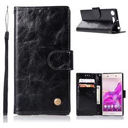 Luxury Retro Leather Wallet Case for Sony Xperia XZ1 - Black