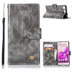 Luxury Retro Leather Wallet Case for Sony Xperia XZ1 - Gray