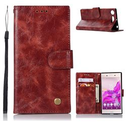 Luxury Retro Leather Wallet Case for Sony Xperia XZ1 - Wine Red