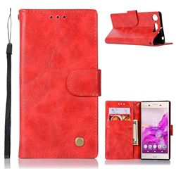 Luxury Retro Leather Wallet Case for Sony Xperia XZ1 - Red