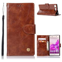 Luxury Retro Leather Wallet Case for Sony Xperia XZ1 - Brown