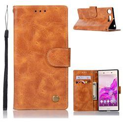 Luxury Retro Leather Wallet Case for Sony Xperia XZ1 - Golden
