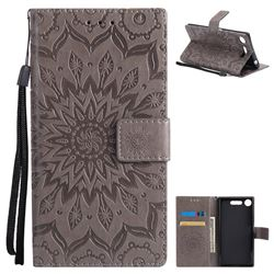 Embossing Sunflower Leather Wallet Case for Sony Xperia XZ1 - Gray