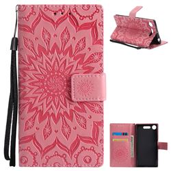 Embossing Sunflower Leather Wallet Case for Sony Xperia XZ1 - Pink