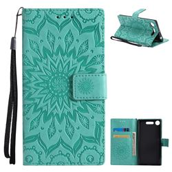 Embossing Sunflower Leather Wallet Case for Sony Xperia XZ1 - Green
