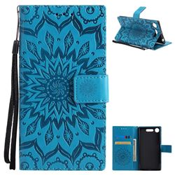 Embossing Sunflower Leather Wallet Case for Sony Xperia XZ1 - Blue