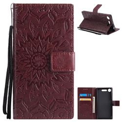 Embossing Sunflower Leather Wallet Case for Sony Xperia XZ1 - Brown