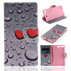 Heart Raindrop PU Leather Wallet Case for Sony Xperia XZ1