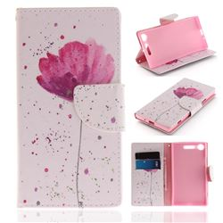 Purple Orchid PU Leather Wallet Case for Sony Xperia XZ1