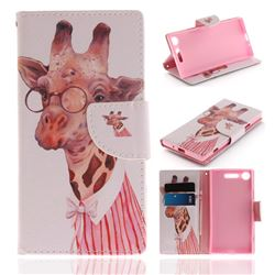 Pink Giraffe PU Leather Wallet Case for Sony Xperia XZ1