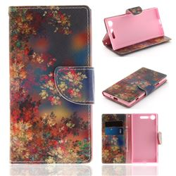 Colored Flowers PU Leather Wallet Case for Sony Xperia XZ1