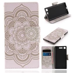 White Flowers PU Leather Wallet Case for Sony Xperia XZ1