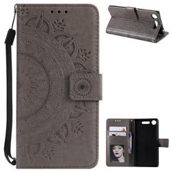 Intricate Embossing Datura Leather Wallet Case for Sony Xperia XZ1 - Gray