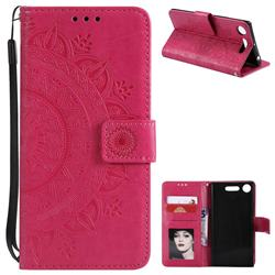 Intricate Embossing Datura Leather Wallet Case for Sony Xperia XZ1 - Rose Red