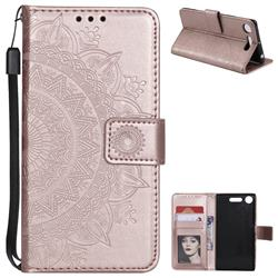 Intricate Embossing Datura Leather Wallet Case for Sony Xperia XZ1 - Rose Gold
