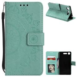 Intricate Embossing Datura Leather Wallet Case for Sony Xperia XZ1 - Mint Green