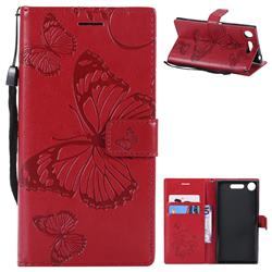 Embossing 3D Butterfly Leather Wallet Case for Sony Xperia XZ1 - Red
