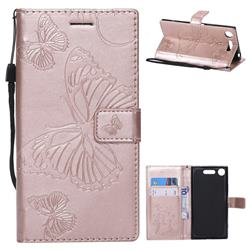 Embossing 3D Butterfly Leather Wallet Case for Sony Xperia XZ1 - Rose Gold
