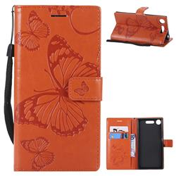 Embossing 3D Butterfly Leather Wallet Case for Sony Xperia XZ1 - Orange