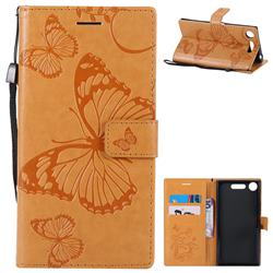 Embossing 3D Butterfly Leather Wallet Case for Sony Xperia XZ1 - Yellow