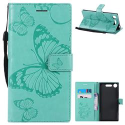 Embossing 3D Butterfly Leather Wallet Case for Sony Xperia XZ1 - Green