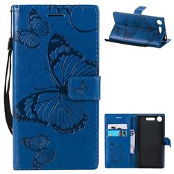 Embossing 3D Butterfly Leather Wallet Case for Sony Xperia XZ1 - Blue