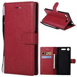 Retro Greek Classic Smooth PU Leather Wallet Phone Case for Sony Xperia XZ1 - Red