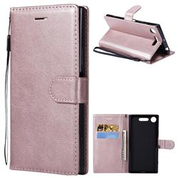 Retro Greek Classic Smooth PU Leather Wallet Phone Case for Sony Xperia XZ1 - Rose Gold