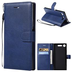 Retro Greek Classic Smooth PU Leather Wallet Phone Case for Sony Xperia XZ1 - Blue