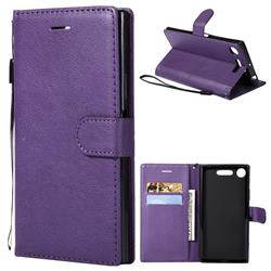 Retro Greek Classic Smooth PU Leather Wallet Phone Case for Sony Xperia XZ1 - Purple
