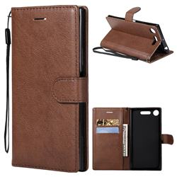 Retro Greek Classic Smooth PU Leather Wallet Phone Case for Sony Xperia XZ1 - Brown