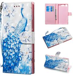 Blue Peacock 3D Painted Leather Wallet Phone Case for Sony Xperia XZ1