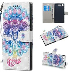Colorful Elephant 3D Painted Leather Wallet Phone Case for Sony Xperia XZ1